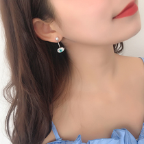 s925 Silver Needle devil eye after hanging earrings female simple personality wild earrings high sense of small public earrings