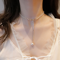 Europe and the United States bow pearl choker clavicle chain female sexy net red with fashion necklace temperament long necklace