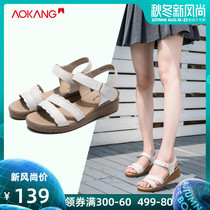 Aokang womens shoes 2019 summer New thick bottom slope with leather sandals casual simple and comfortable Velcro mom shoes