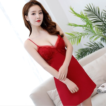 Summer pajamas ladies sexy Sling date red lace embroidery with chest pad Ice Silk temptation nightdress silk satin