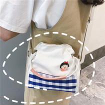 2019 New shoulder bag Korean female student bag wild messenger bag small fresh art lattice portable canvas bag