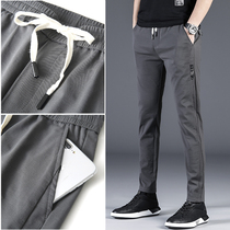 Spring new casual pants male slim feet Korean version of the trend of mens casual pants wild elastic long pants men thin