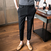 Spring and summer nine leisure pants Korean version of the trend of small feet business trousers men British slim youth trousers straight