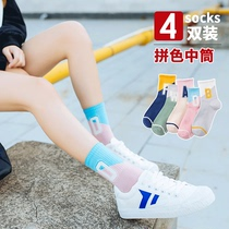 Socks female tube socks summer thin section cotton stockings female tide Street summer Korean Japanese cute long tube ins