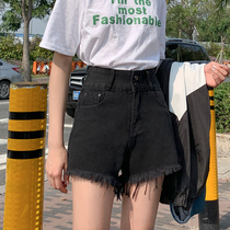 Denim shorts female Summer 2019 New Black net Red Korean version was thin loose high waist a word wide leg hot pants