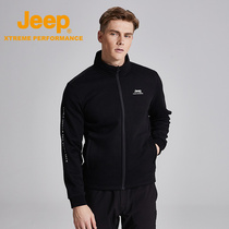jeep ship shop official genuine Jeep stand collar men's zipper autumn and winter knit cardigan jacket casual plus velvet sweater