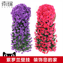 Simulation violet wall hanging living room green plant indoor green radish decorative rattan Plastic Orchid Basket store fake flowers