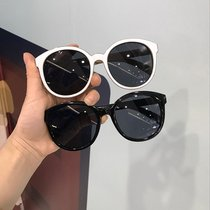 Star models net red was thin frame round ladies black sunglasses Korean retro round face white sunglasses female tide