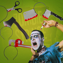 Halloween cos dress up tricky props wearing head knife KTV bar spoof gift whole creative scary props