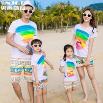 Summer family with a family of three holiday seaside beach quick-drying pants couple short-sleeved T-shirt suit