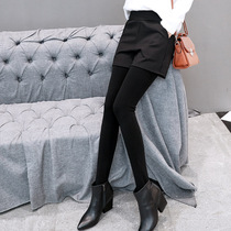 Fake two-piece leggings pleated bag hip female culottes one-piece pants plus velvet thick step foot shorts autumn and winter bottomed culottes