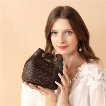 Hong Kong to buy leather chain small bag 2019 autumn new womens bag 100-pack one-shoulder slant mini bucket bag