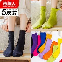 Antarctic calf socks female autumn and winter tube socks Japanese pile socks black long socks ins Street trend cotton socks