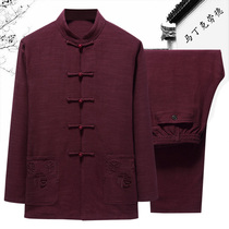 In the elderly spring and autumn thin section Tang men long-sleeved cotton and linen suit China wind large size Daddy loaded linen jacket
