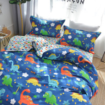 Cotton cartoon three or four sets of boys dinosaur student dormitory children bedding single quilt fitted sheet