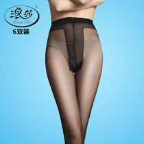 6 Double Wave stockings t crotch pantyhose anti hook wire anti off Silk female black thin section of the thigh without trace tights