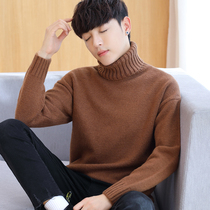 2018 new mens turtleneck sweater winter thickened Korean version loose linens student trend bottom sweater man