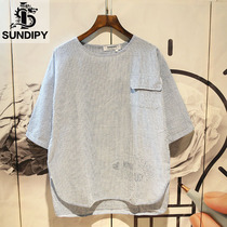 sundipy summer loose striped 5-point sleeve T-shirt fashion trend ins casual mens half-sleeved short T-shirt