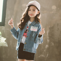 a757804bca0 Girls pupils spring and autumn girls denim jacket spring 6 children s  fashion shirt 7 years old 10 foreign coat 11 ...