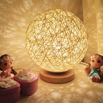 ins creative rattan decorative fairy table lamp net red bedroom dormitory room layout night light girl heart rattan