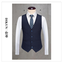 Brand suit mens navy pinstripe yellow suit suit vest business casual dress vest Korean slim