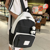 Panda pendant backpack Japanese girl heart hit color waterproof backpack thick high school campus student bag