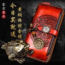 Warehouse Kyrgyzstan handmade wallet mens long leather zipper wallet womens leather folder clutch bag purse wallet