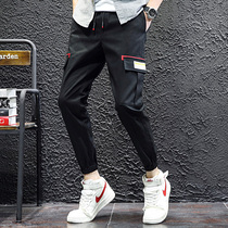 Mens casual pants pants 2019 New mens slim trend Korean version of the Tide brand overalls autumn summer flowers thin section