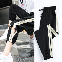 ins sports pants 2019 new spring and summer Harajuku bf casual student Korean version loose feet nine harem pants