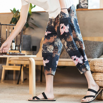 Mens cropped pants loose large size Summer Beach casual pants China wind pants shorts trend printing harem pants