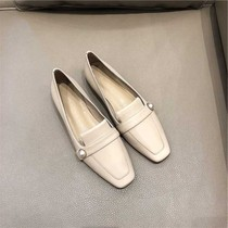 Thick with a single shoe female 2019 spring section of a pedal small leather shoes leather grandma square with nude color high-heeled loafers