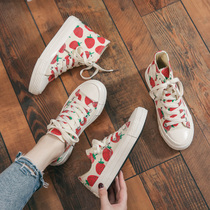 2019 spring new strawberry canvas shoes female students wild Korean Harajuku ulzzang net red shoes ins tide