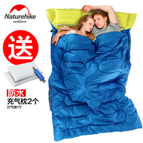 0 12℃ NH with inflatable pillow double sleeping bag spring and autumn sleeping bag adult outdoor camping indoor lunch break
