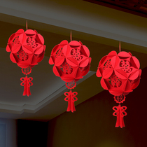 Mexican wedding supplies hi word non-woven cloth pull flower hydrangea red lanterns Chinese wedding room layout pendant decoration