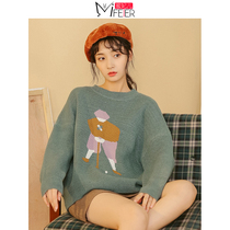 Honey Princess retro sweater women loose wear autumn and winter Korean knit top bf lazy wind jacquard pullover