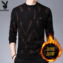 Playboy Plus fleece mens thick crew neck knit sweater winter 2019 warm sweater tide