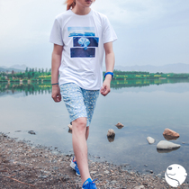 (Molisii Jasmine silk) hand-painted series TEE ice sea cotton spandex men's T-shirt polar bear short-sleeved