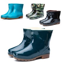 Winter Short Sleeve men and women boots plus cashmere rain boots mens boots rain boots in the tube water shoes shoes non-slip lightweight galoshes