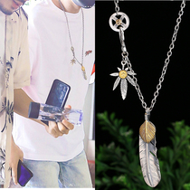 Silver taijiao chain Takahashi Goro chain town soul Shen Wei Zhu Yilong with the feather silver necklace female men's sweater chain