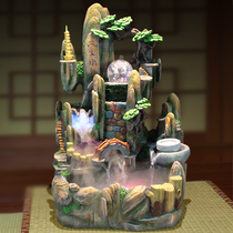 Mountain Bridge rockery fountain fish tank waterwheel feng shui lucky micro-landscape indoor fish water production of wealth ornaments