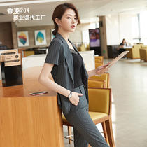 0c958ee580 Summer professional suit female 2019 new fashion ol face test work clothes  short-sleeved striped