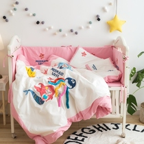 Autumn and winter thick cotton sanding embroidery baby bed kindergarten quilt three sets of bed surrounded by children four sets