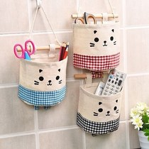 Cotton and linen cloth fabric underwear tissue phone bathroom wall hanging bag hanging pouch