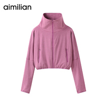 Amy Love thin short paragraph coat womens outdoor sports shirt summer 2019 New loose long-sleeved zipper cardigan