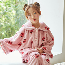 Children's pajamas winter thick section girls flannel suit large children plus cashmere warm home service thickening cute