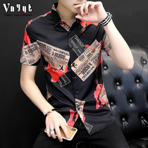 Mens personalized printing short-sleeved shirt mens youth summer casual half-sleeved shirt trendy hair stylist ins inch shirt