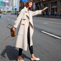 Beige coat female long section of the popular 2019 new autumn and Winter NI Zi Sen Department of wool Hepburn hair coat