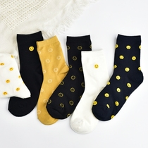 Unique design cute smile socks children Japanese ins tide pile pile socks spring and summer cotton tube socks