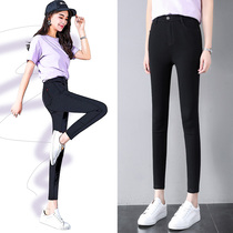 Black pants female thin section 2019 spring and summer new slim thin stretch high waist nine pants female pencil feet pants