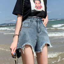 Denim shorts female 2019 summer new high waist a word irregular loose wide leg elegance with the ins hot pants tide